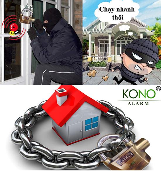 ứng dụng ổ khóa báo động 2 lõi bi KoNo-K168B