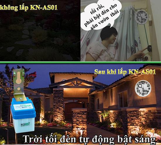 Ứng dụng bật đèn của cảm biến anh sáng KONO KN-AS01